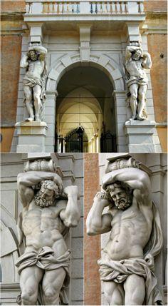 hadrian6: Telamon Portal. 17th.century. Palazzo Davia Bargellini. Bologna.Francesco Agnesini. Italian 1616-1662.Gabriello Brunelli. Italian 1615-1682. collage Hadrian6.http://hadrian6.tumblr.com
