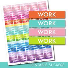 Work header stickers, Work planner stickers, Work printable stickers, Work stickers, Header stickers, Planner header stickers, STI-185