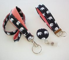 ** Please note that the background is a VERY dark navy, almost black A complete set consists of - 1 lanyard, 1 retractable badge reel, and 1 key fob The outside will have the elephants and the inside color is your choice from the drop down menu above. Work doesnt have to be all boring - brighten up your wardrobe with these fashionable lanyards, reels, and fobs. ** Lanyard description: measures approx 3/4 inch wide with a 20.5 drop - (41 around with a 1 lobster clasp) If you desire a ...