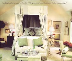 Green and cream bedroom with canopy bed - Celerie Kemble from House Beautiful, 2003