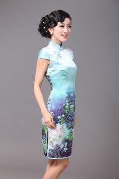 Delightful Pear Flowers Silk Cheongsam - Qipao - Cheongsam - Women