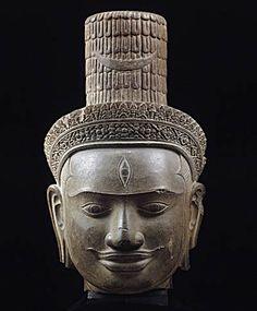 Head of Shiva, Cambodia, Siem Reap province. Angkor, Machu Picchu, Shiva, Laos, Statues, Asian Sculptures, Art Sculptures, Cambodian Art, Art Asiatique