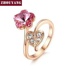 BPRRing ZYR214 Pink Flower Crystal Ring Rose Gold Color Austrian Crystals *** Be sure to check out this awesome product. #DressUpandPretendPlay