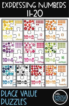 Colorful place value puzzles for numbers 11 - 20. Perfect for early childhood math! #earlychildhood #placevalue Math Stations, Math Centers, Creative Teaching, Teaching Ideas, Teaching Resources, Math Made Easy, Special Education Activities, Tens And Ones, Number Puzzles