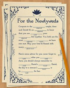 Have your guests give you their best newlywed advice with a fun fill-in-the-blank mad lib.