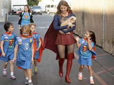 Even superheroes need a posse! Melissa Benoist introduced adorable Girl Scouts to a sweet, furry friend.