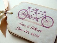 Tandem Bicycle Wedding Favor Tags Custom by kindredspiritcrafts, $5.25                                                 youtube mp3