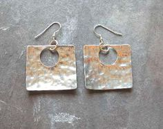 Items similar to Sterling Silver Hammered Square Dangle Earrings, Polished - or in Gold on Etsy Long Silver Earrings, Sterling Silver Earrings, Square Earrings, Drop Earrings, Dangles, Wire, Unique Jewelry, Handmade Gifts, Etsy
