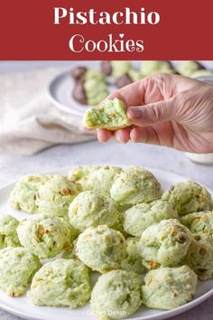 This is my delicious, melt in your mouth, moist, soft cream cheese pistachio cookies recipe for everyone to enjoy. They are my most requested cookie and so addicting! #cookies #holidaycookies #pistachio #dishesdelish Chocolate Cookie Recipes, Easy Cookie Recipes, Gourmet Recipes, Baking Recipes, Health Recipes, Chocolate Chips, Pistachio Recipes, Pistachio Cookies, Pistachio Dessert