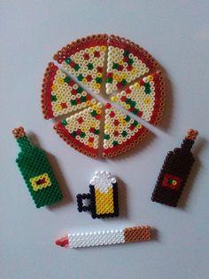 Pizza magnet set | #Hama #Bügelperlen #iron_beads # perler_beads by Astrid's Zauberstübchen