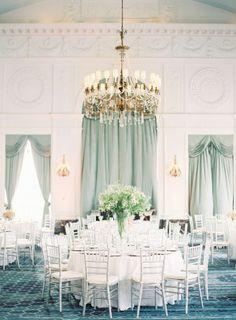 White Blue Ballroom Wedding
