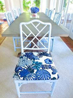 DIY on dining room chair seats. My best friend's East Hampton dining room. We recovered the light blue chippendale chairs with Chiang Mai Dragon Schumacher fabric on seat cushion. Cement top trestle dining table from Restoration Hardware Fabric Dining Room Chairs, Shabby Chic Table And Chairs, Accent Chairs For Living Room, Chair Fabric, Desk Chairs, Bar Chairs, Chair Cushions, Kids Hanging Chair, Dining Chair Seat Covers