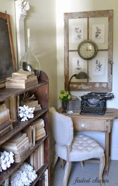 Faded Charm: ~French Botanicals~ love the up-cycled window and book shelf!