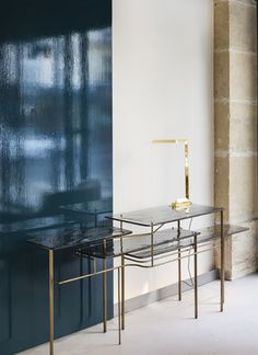 TARI console #console #glass #brass #brunomoinardedtions Tea Trolley, Multipurpose Furniture, Side Board, Console Tables, Furniture Storage, Deco, Lighting Design, Armchair, Stool