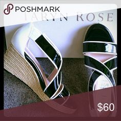 Taryn Rose style TR-KRISSY wedges Patent leather black and white wedges. Size 7. Taryn Rose Shoes Wedges