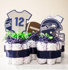 Seahawks 12th Man Baby Shower Diaper Centerpieces Seahawks_12thMan_BabyShower | © Forevermomentsevents.com