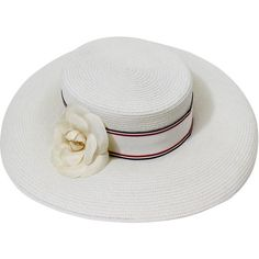 Vintage Chanel White Hat w/ Camellia Flower Ribbon Trim ($1,655) ❤ liked on Polyvore featuring accessories, hats, flower hat, band hats, ribbon hat, chanel hat and striped hat