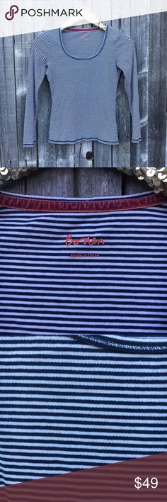 {Boden} Navy Stripe Square Neck Long Sleeve Tee XS EUC! No stains or damage. Classic Americana style. Perfect for the Fourth of July! Size tag not included, but fits like an XS. Measurements and content to be posted ASAP! Offers warmly welcomed! Boden Tops Tees - Long Sleeve