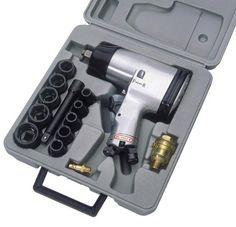 """Druckluft Schlagschlüsselset (1/2 """")   16 teilig im stabilen Kunststoffkoffer . Inkl. diverses Zubehör  Größen: 9-10-11-13-14-17-19-22-24-27  Schlagkraft: 312 Nm Arbeitsdruck: 6,2 bar, 115ltr. / min.  Artikelcode: GLU034  1 Stück oder mehr für  23,50 Euro pro Stück"""