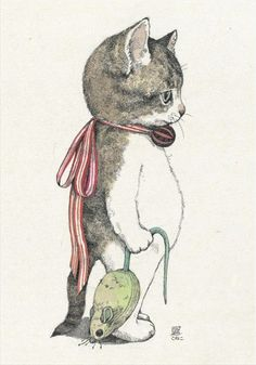 Aw, he needs a superman cape instead of a ribbon! by Yuko Higuchi #cat #art