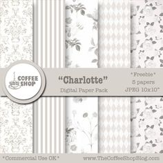 "The CoffeeShop Blog: CoffeeShop ""Charlotte"" Digital Paper Pack!"