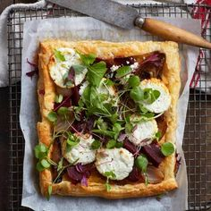 Vegetarian recipe for Flame-grilled Beetroot Tart, topped with Goat's Milk Cheese. It's super easy to make and is perfect for a starter or light veggie-based dinner. Healthy Family Meals, Healthy Snacks, Butter Puff Pastry, Micro Herbs, Beef Strips, Milk And Cheese, Beetroot, Goat Milk, Vegetarian Food