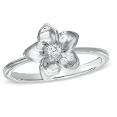 Diamond Accent Flower Ring in Sterling Silver - Zales (size 9!)