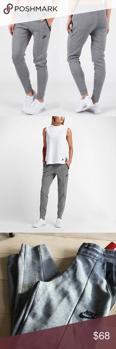 NIKE SPORTSWEAR TECH FLEECE WOMENS JOGGERS NEW Balancing style and comfort, the go-to Nike Sportswear Tech Fleece Women's Pants feature a slim, streamlined cut and provide lightweight warmth. BENEFITS Nike Tech Fleece fabric is soft, light and warm Tapered legs and ribbed cuffs streamline the fit Elastic waistband with drawcord for snug comfort PRODUCT DETAILS Fabric: 67% cotton/33% polyester Machine wash Imported Nike Pants Track Pants & Joggers