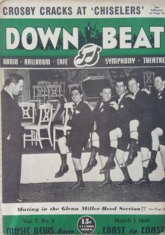 """Glenn Miller Band - 1940 """"Down Beat"""" Magazine Cover"""