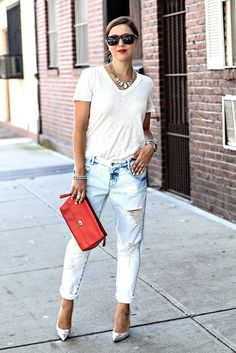 { White Tee with Distressed Jeans }
