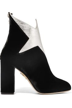 CHARLOTTE OLYMPIA Galactica Metallic Leather And Velvet Ankle Boots. #charlotteolympia #shoes #boots