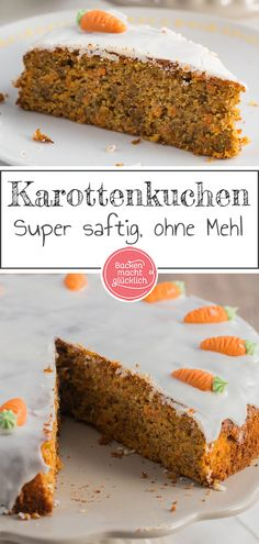 Wunderbar saftiger Karottenkuchen Great recipe for a simple carrot cake for Easter. The carrot cake is baked without flour. Due to oil in the dough, the racket is especially juicy. Carrot cake is perfect for Easter. cake No related posts. Food Cakes, Turnip Cake, Cake Recipes, Dessert Recipes, Easter Recipes, Easy Carrot Cake, Snacks Sains, Zucchini Cake, Savoury Cake