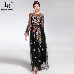 2017 Newest Fashion Runway Maxi Dress Women s elegant Long Sleeve Tulle  Gauze Flower Floral Embroidery Black Vintage Long Dress ee05aca85703