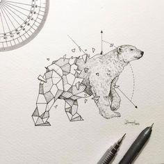 Wild Animal Drawings Lovely Half Geometrical Drawings Of Wild Animals Drawing Wild Animals Drawing, Animal Drawings, Art Drawings, Geometric Drawing, Geometric Shapes, Geometric Animal, Geometric Bear Tattoo, Tribal Animal Tattoos, Art And Illustration