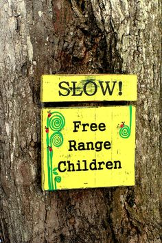 Slow Free Range Children Sign by 2ChickDeSigns on Etsy, $30.00