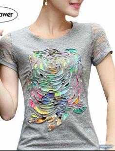 Reverse applique t-shirt lift