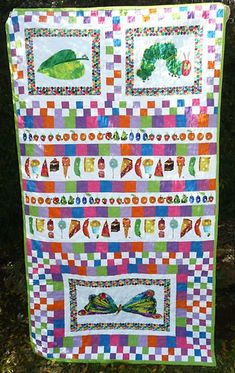 very hungry caterpillar fabric! I bet the Mennonite quilt store has it! Lylas bday blanket?!