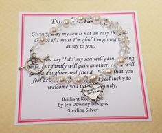 Future Daughter In Law Wedding Gift Bracelet by BrilliantKeepsakes Daughter In Law Gifts, Future Daughter, Wedding Keepsakes, Wedding Gifts, Life Partners, Heart Charm, Pearl White, Poem, Jewelry Box