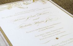 Royal Celebration, white silk gold scrolls fabric wedding invitation