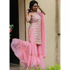Baby pink georgette embroidered work party wear sharara suit Sharara Suit, Salwar Suits, Suit Fabric, Work Party, Suits You, Party Wear, One Size Fits All, Ruffles, Sleeves