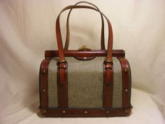 Beautiful Vintage John Romain Doctor's Bag Tweed and Leather