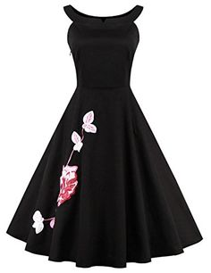 4653c9673f00 Cdress Womens Vintage 1950s Audrey Hepburn Style Swing Dresses Embroidery  Prom Cocktail Gowns Black M > · Pretty OutfitsPretty ...