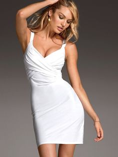 Beautiful Blonde Victoria's Secret Model Candice Swanepoel Modeling In Sexy Victoria's Secret White Dresses For Fashion Ads. How To Become A Victoria's Secret Model And The Secrets Of Becoming A Victoria's Secret Angel.