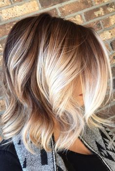 Brown to blonde balayage with chunky blonde pieces framing the face.