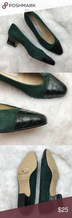 "Etienne Aigner Ann Marie Croc Leather Suede Heels Adorable green kitten heels. 1.5"" heel. Very good condition with minor marks here and there. Small scratch on one toe. Otherwise great! Etienne Aigner Shoes"