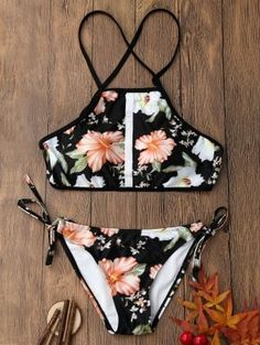 AD : Floral Print Backless Crop Top Bikini Set - COLORMIX Swimwear Type: Bikini Gender: For Women Material: Polyester,Spandex Bra Style: Padded Support Type: Wire Free Collar-line: Halter Pattern Type: Floral Placement Print: No Decoration: Lace up Waist: Bathing Suits For Teens, Summer Bathing Suits, Cute Bathing Suits, Bathing Suit Covers, Crop Top Bikini, The Bikini, Bikini Beach, Halter Bikini, Floral Swimsuit Bikinis