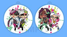 """Double-sided Splatoon Host charms by Byron B Double-sided 2"""" Charms depicting Callie/Marie(you know, from the squid sisters?) and Marina/Pearl from Splatoon/Splatoon 2. Each charm comes with a jump ring cell phone strap. Stay Fresh!Limited quantity."""