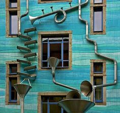 Rube Goldberg building facade in Dresden, Germany