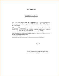 A letter of certification is a letter that is used to verify proof employment letter template verification form certificate employmentyota davao employmentg altavistaventures Image collections