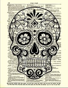 Sugar Skull with Flowers, Day of the Dead, Halloween Decor, Dictionary Art Print, Wall Decor, Wall Art via Etsy